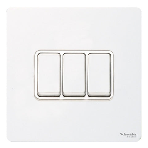 GU1432WPW Ultimate screwless flat plate white metal white insert 3 gang 2 way 16AX plate switch
