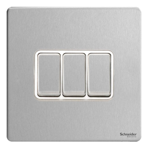 GU1432WSS Ultimate screwless flat plate stainless steel white insert 3 gang 2 way 16AX plate switch