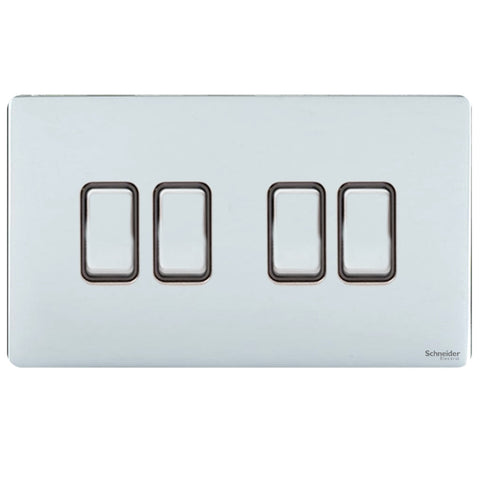 GU1442BPC Ultimate screwless flat plate polished chrome black insert 4 gang 2 way 16AX plate switch