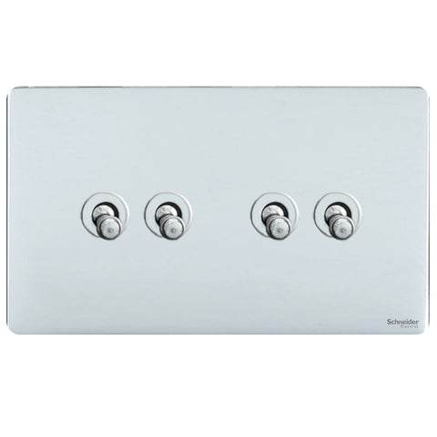 GU1442TPC Ultimate screwless flat plate polished chrome 4 gang 2 way 10AX toggle switch