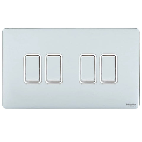 GU1442WPC Ultimate screwless flat plate polished chrome white insert 4 gang 2 way 16AX plate switch