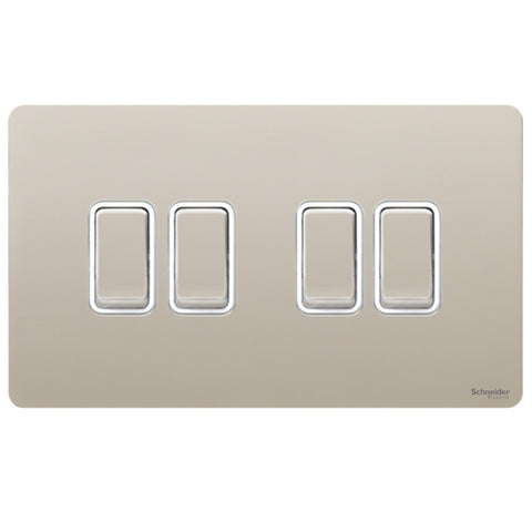 GU1442WPN Ultimate screwless flat plate pearl nickel white insert 4 gang 2 way 16AX plate switch