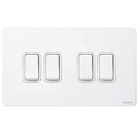 GU1442WPW Ultimate screwless flat plate white metal white insert 4 gang 2 way 16AX plate switch