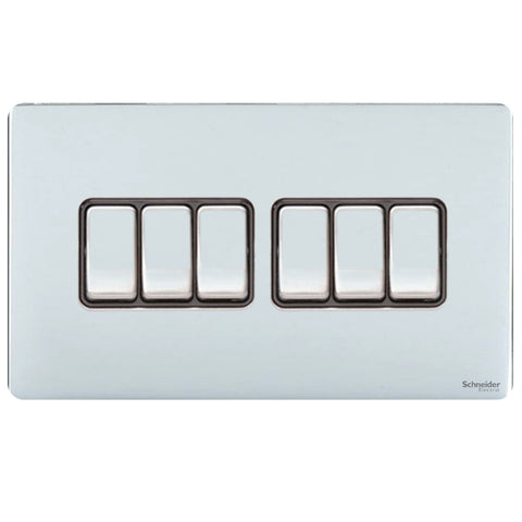 GU1462BPC Ultimate screwless flat plate polished chrome black insert 6 gang 2 way 16AX plate switch