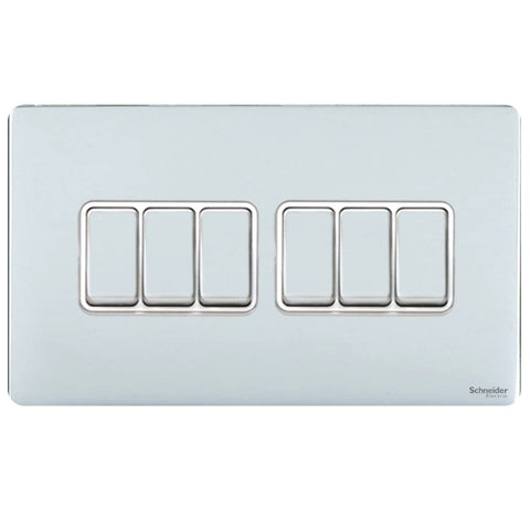 GU1462WPC Ultimate screwless flat plate polished chrome white insert 6 gang 2 way 16AX plate switch