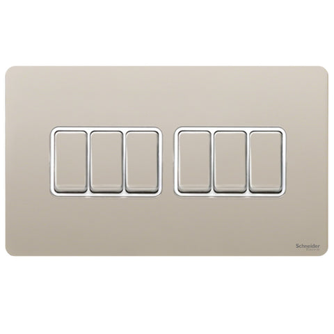 GU1462WPN Ultimate screwless flat plate pearl nickel white insert 6 gang 2 way 16AX plate switch