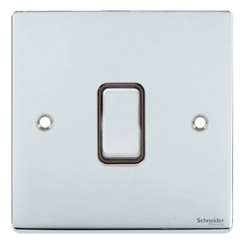 GU1512BPC Ultimate low profile polished chrome black insert 1 gang 2 way 16AX plate switch