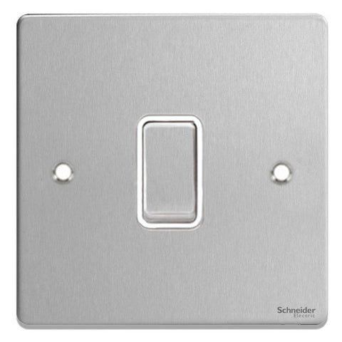 GU1512WBC Ultimate low profile brushed chrome white insert 1 gang 2 way 16AX plate switch