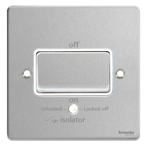 GU1513WBC Ultimate low profile brushed chrome white insert 1 gang TP isolator 10A plate switch
