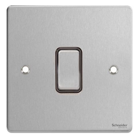 GU1514BBC Ultimate low profile brushed chrome black insert 1 gang intermediate 16AX plate switch