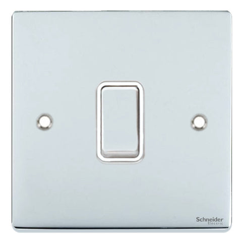 GU1514WPC Ultimate low profile polished chrome white insert 1 gang intermediate 16AX plate switch