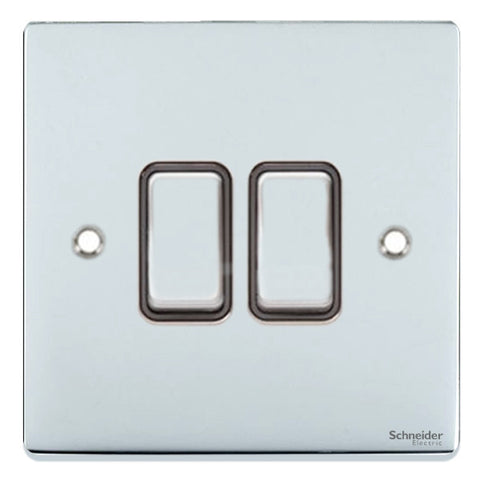 GU1522BPC Ultimate low profile polished chrome black insert 2 gang 2 way 16AX plate switch