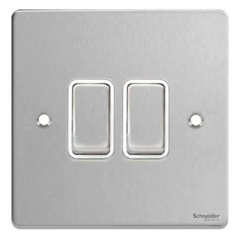 GU1522WBC Ultimate low profile brushed chrome white insert 2 gang 2 way 16AX plate switch