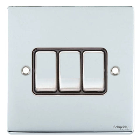 GU1532BPC Ultimate low profile polished chrome black insert 3 gang 2 way 16AX plate switch
