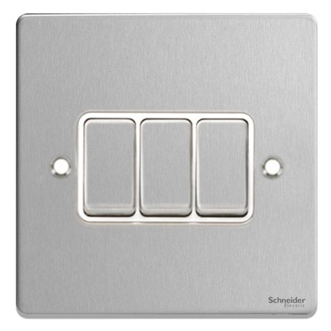 GU1532WBC Ultimate low profile brushed chrome white insert 3 gang 2 way 16AX plate switch