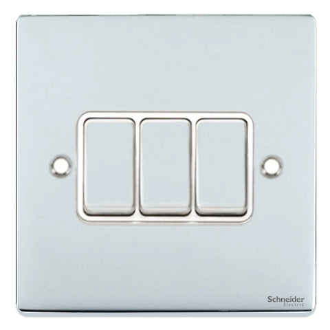 GU1532WPC Ultimate low profile polished chrome white insert 3 gang 2 way 16AX plate switch