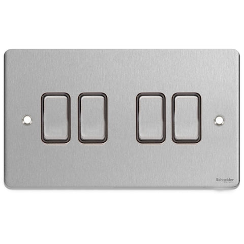 GU1542BBC Ultimate low profile brushed chrome black insert 4 gang 2 way 16AX plate switch