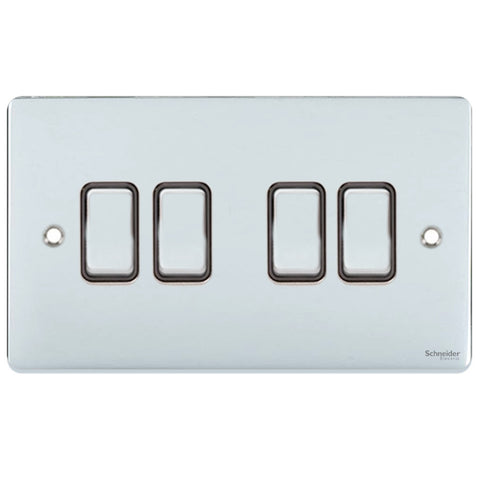 GU1542BPC Ultimate low profile polished chrome black insert 4 gang 2 way 16AX plate switch