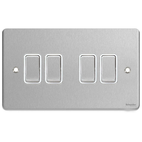 GU1542WBC Ultimate low profile brushed chrome white insert 4 gang 2 way 16AX plate switch