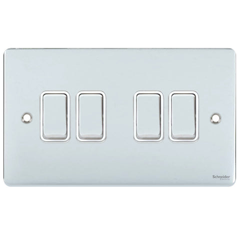 GU1542WPC Ultimate low profile polished chrome white insert 4 gang 2 way 16AX plate switch