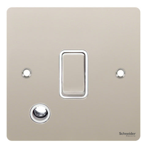 GU2213WPN Ultimate flat plate pearl nickel white insert 20AX DP switch + flex outlet