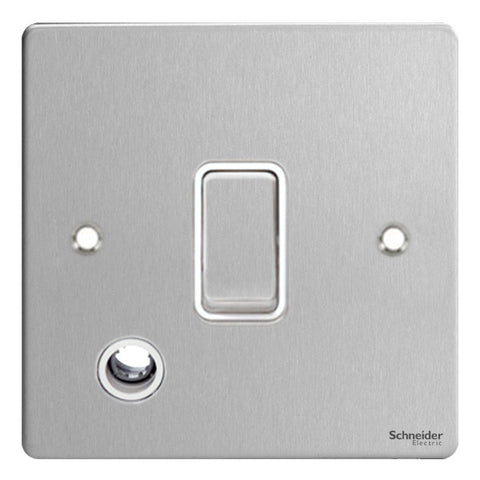 GU2213WSS Ultimate flat plate stainless steel white insert 20AX DP switch + flex outlet