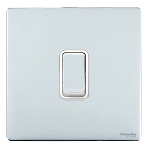 GU2410WPC Ultimate screwless flat plate polished chrome white insert 20AX DP switch