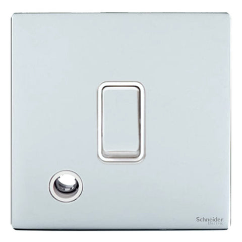 GU2413WPC Ultimate screwless flat plate polished chrome white insert 20AX DP switch + flex outlet