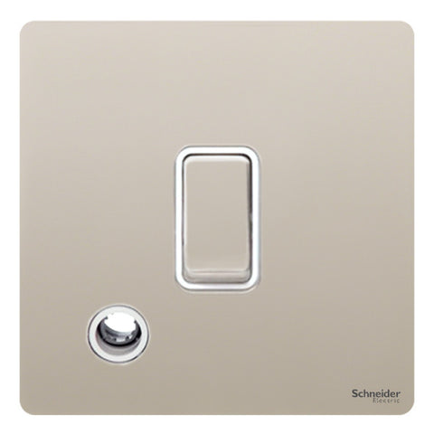 GU2413WPN Ultimate screwless flat plate pearl nickel white insert 20AX DP switch + flex outlet
