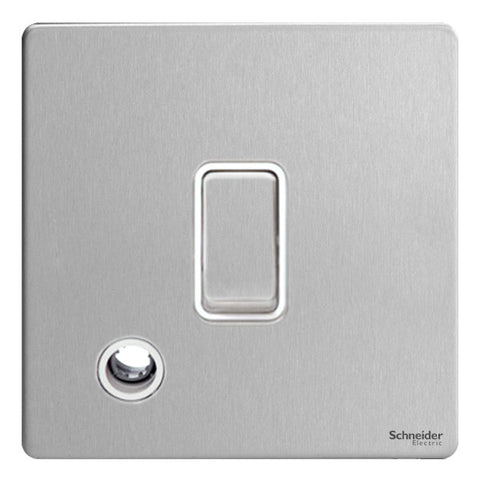GU2413WSS Ultimate screwless flat plate stainless steel white insert 20AX DP switch + flex outlet