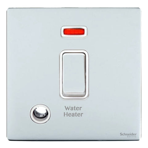 GU2414WHWPC Ultimate screwless flat plate polished chrome white insert 20AX DP switch + neon + F/O marked water heater