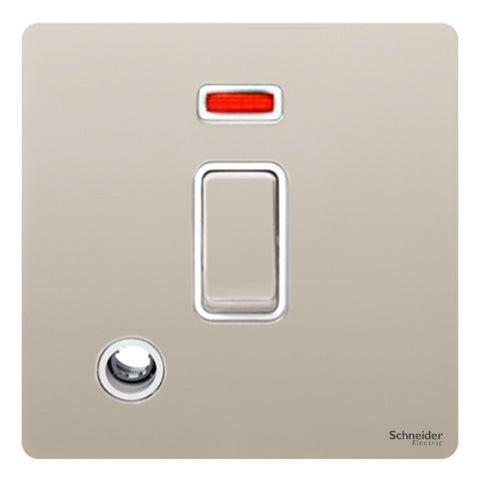 GU2414WPN Ultimate screwless flat plate pearl nickel white insert 20AX DP switch + neon + flex outlet