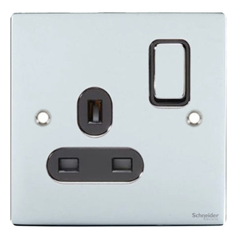 GU3210BPC Ultimate flat plate polished chrome black insert 1 gang 13A switched socket