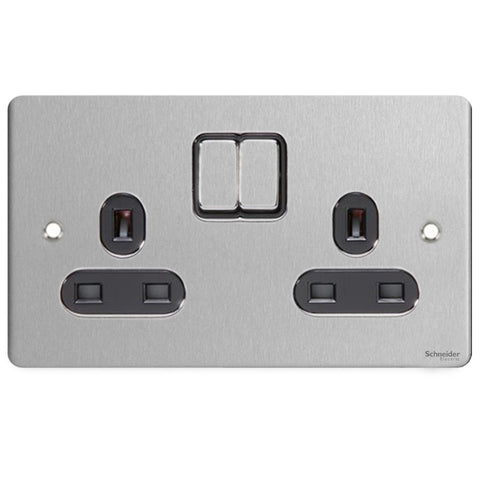 GU3220BSS Ultimate flat plate stainless steel black insert 2 gang 13A switched socket