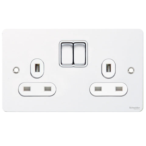 GU3220WPW Ultimate flat plate white metal white insert 2 gang 13A switched socket