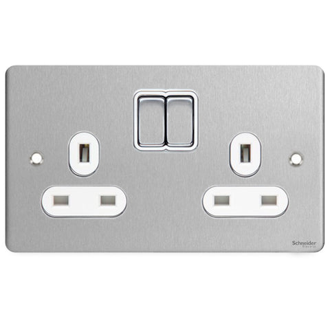 GU3220WSS Ultimate flat plate stainless steel white insert 2 gang 13A switched socket