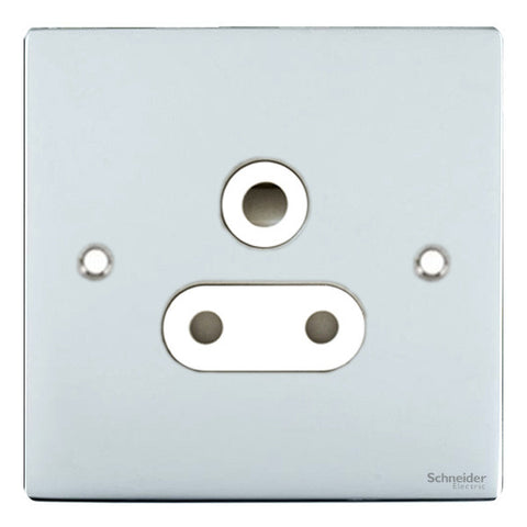 GU3290WPC Ultimate flat plate polished chrome white insert 1 gang 15A round pin switched socket