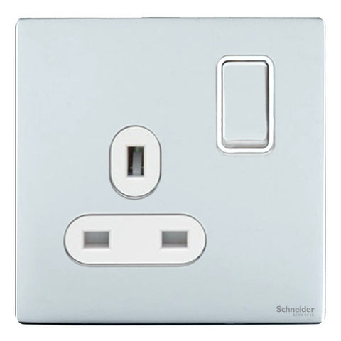 GU3410WPC Ultimate screwless flat plate polished chrome white insert 1 gang 13A switched socket