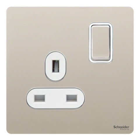 GU3410WPN Ultimate screwless flat plate pearl nickel white insert 1 gang 13A switched socket