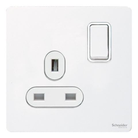 GU3410WPW Ultimate screwless flat plate white metal white insert 1 gang 13A switched socket