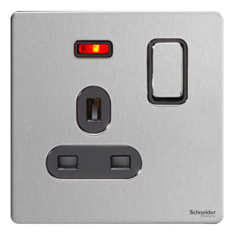GU3411BSS Ultimate screwless flat plate stainless steel black insert 1 gang 13A switched + neons socket