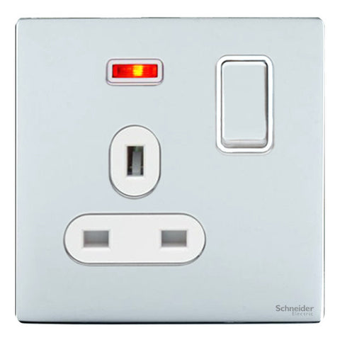 GU3411WPC Ultimate screwless flat plate polished chrome white insert 1 gang 13A switched + neons socket