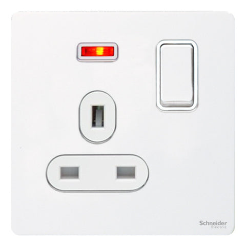 GU3411WPW Ultimate screwless flat plate white metal white insert 1 gang 13A switched + neons socket