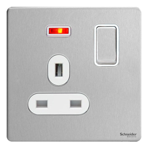 GU3411WSS Ultimate screwless flat plate stainless steel white insert 1 gang 13A switched + neons socket