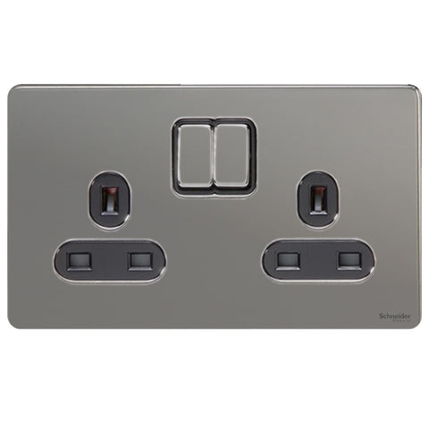 GU3420BBN Ultimate screwless flat plate black nickel black insert 2 gang 13A switched socket
