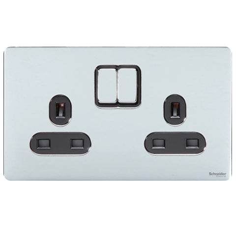 GU3420BPC Ultimate screwless flat plate polished chrome black insert 2 gang 13A switched socket