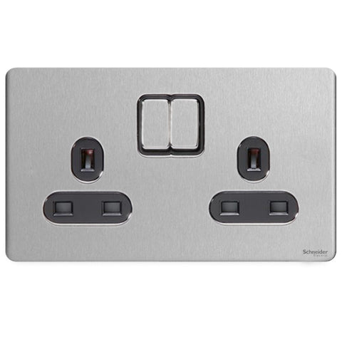 GU3420BSS Ultimate screwless flat plate stainless steel black insert 2 gang 13A switched socket