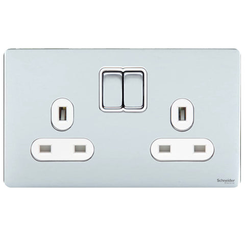 GU3420WPC Ultimate screwless flat plate polished chrome white insert 2 gang 13A switched socket