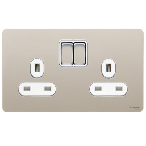 GU3420WPN Ultimate screwless flat plate pearl nickel white insert 2 gang 13A switched socket