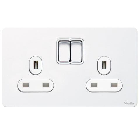 GU3420WPW Ultimate screwless flat plate white metal white insert 2 gang 13A switched socket